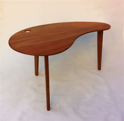Kidney Bean Shaped Desk Mid Century Modern Solid Hardwood Desk Kidney Bean Shaped