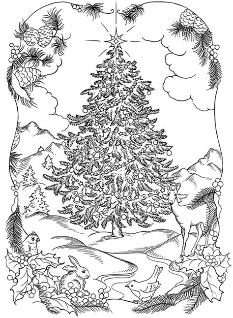Detailed Tree Coloring Pages Detailed Christmas Coloring Pages For Adults Coloring Page