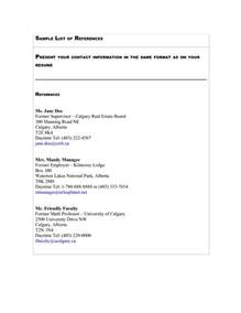 resume references template list of references template cyberuse