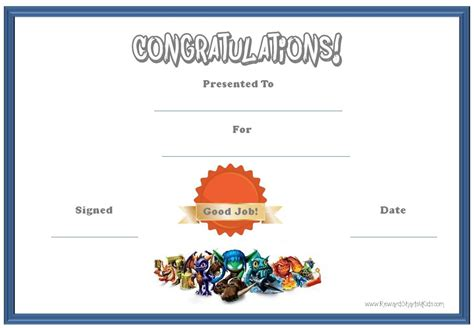 certificate template for children skylanders behavior charts and certificates