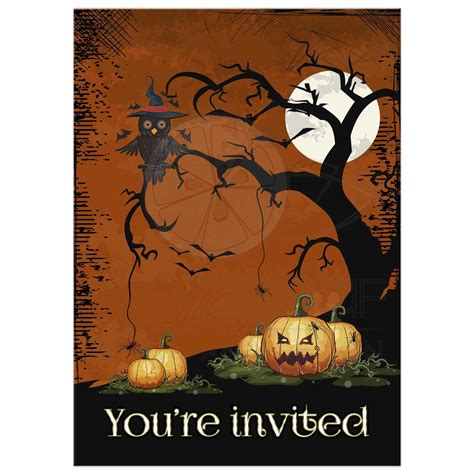 Home Decor Yellow And Gray cute owl and pumpkins halloween party invitation