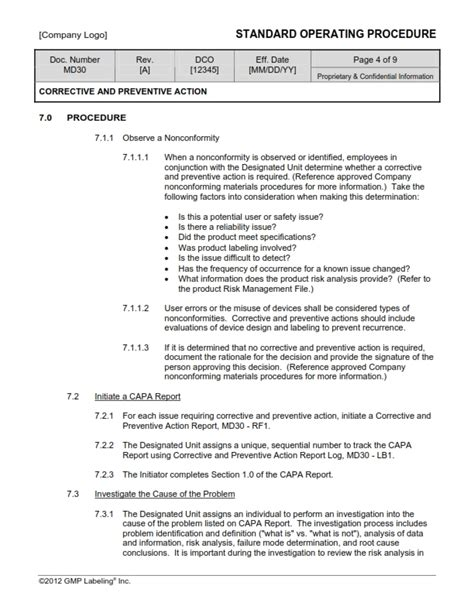 Corrective Preventive Action Sop Templates Md30 Gmp Qsr Iso Maintenance Sop Template