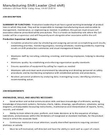 shift leader description sle 9 exles in word pdf