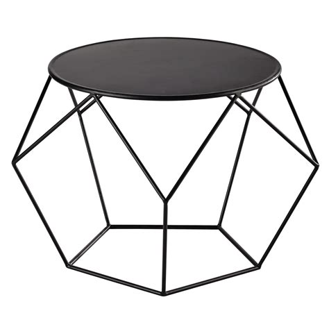metal round coffee table in black d 64cm prism maisons
