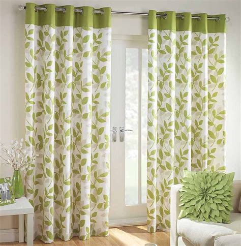 leaf pattern window curtains interior beautiful green white floral curtain window with