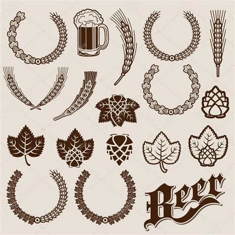 Custom Home Plans And Prices beer ingredients ornamental designs stock vector