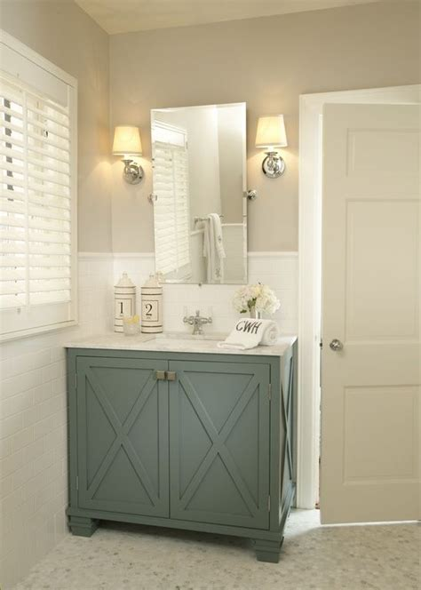 Bathroom Vanity Color Ideas | traditional powder room with vintage rectangular pivot