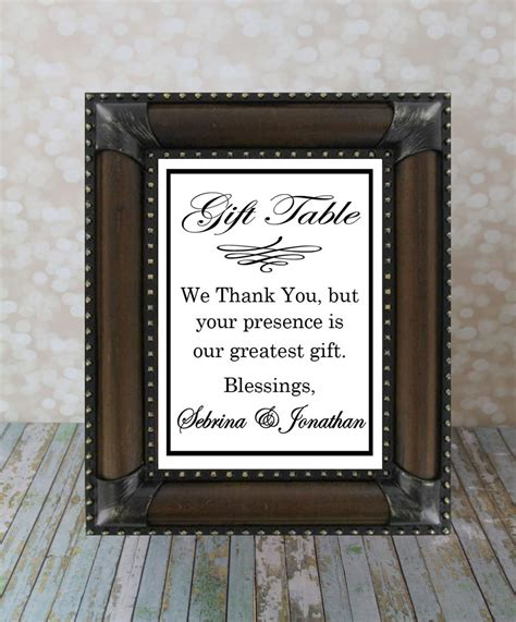 Wedding Gift Table Sign by Wedding Gift Sign Reception Table Sign Thank By