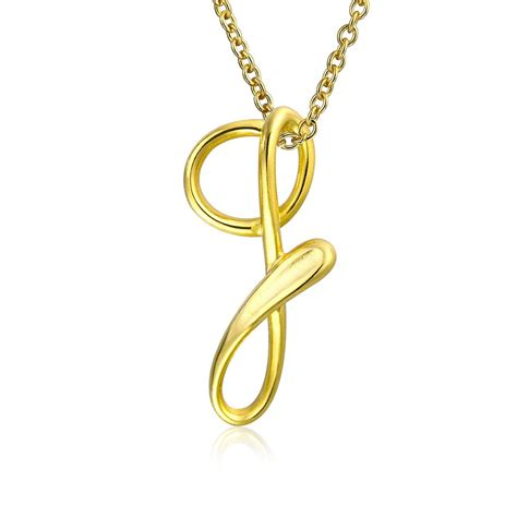 Letter Pendant Gold Plated Silver Letter G Script Initial Pendant Necklace 18in