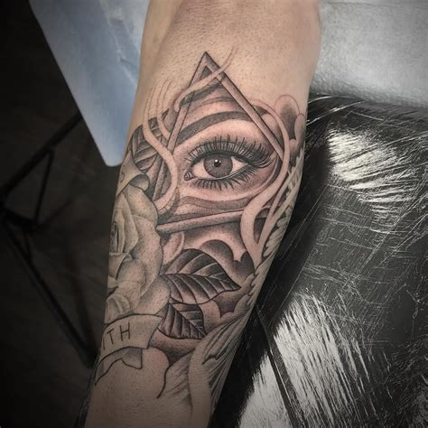 gap filler tattoos illuminati eye smoke gap filler on forearm