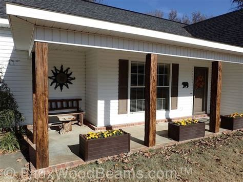 porch posts covered  faux wood beams porch columns