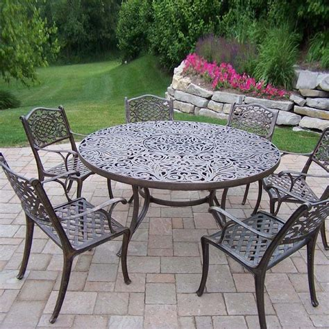 Cast Aluminum Patio Dining Set Oakland Living Mississippi 6 Person Cast Aluminum Patio Dining Set Antique Bronze Ultimate Patio