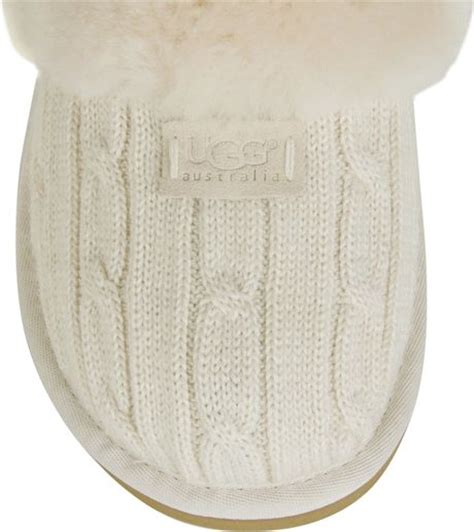 white ugg slippers ugg cozy knit slippers in white lyst