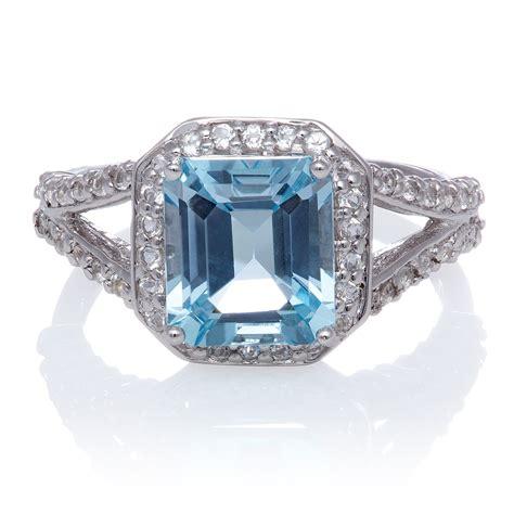 halo emerald cut sky blue topaz and white topaz sterling