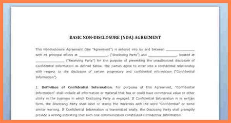 nda confidentiality agreement template 7 simple confidentiality agreement template purchase