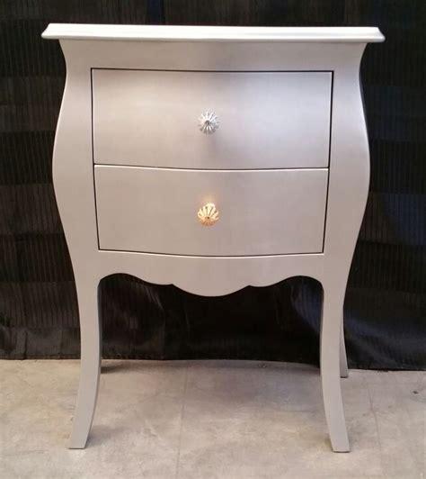 comodino argento comodino color argento 2 cassetti legno massello bombato e