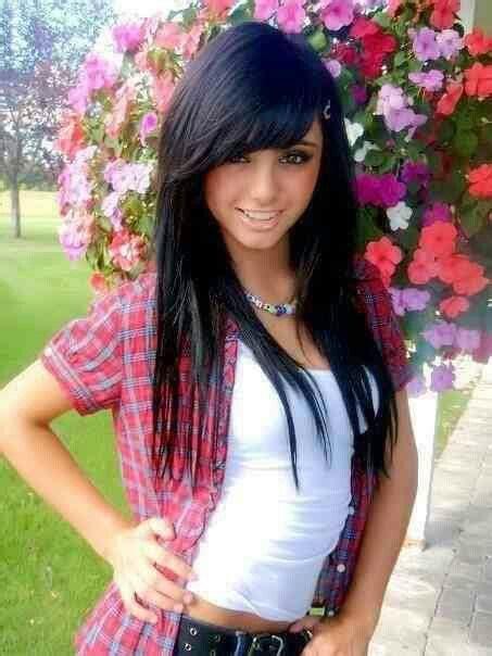 black hair swoop bangs black hair straight layered bangs love pinterest