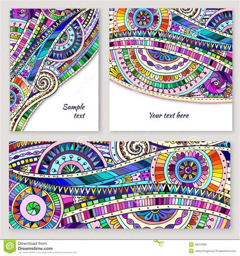 batik design template set of abstract doodle tribal vector cards stock vector