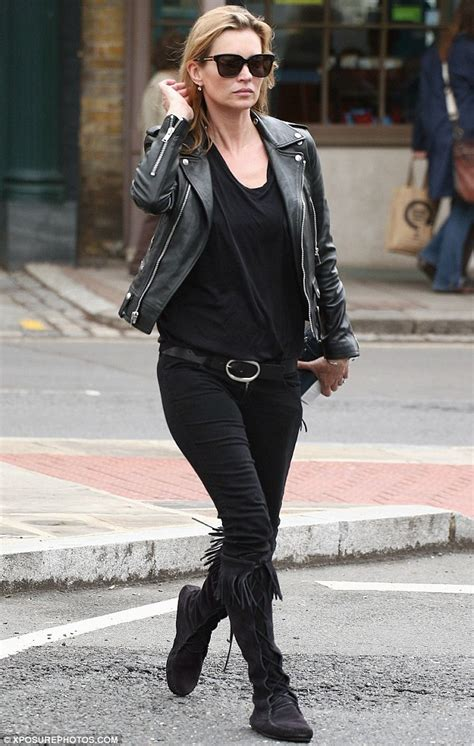 Rock Chic Biker Meets Beatnik In Lace And Leather by Kate Moss Works The Rock Look In Leather Biker