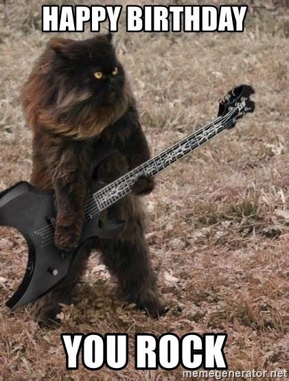 Heavy Metal Birthday Memes - happy birthday you rock death metal cat meme generator