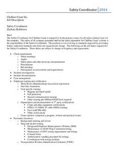 Safety Coordinator Resume by Safety Coordinator Description