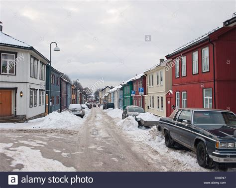 how to buy a house in norway winter in oslo norway a street in v 229 lerenga with old wooden houses stock photo
