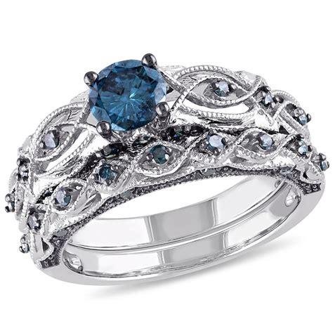 1 ctw blue bridal set ring in black rhodium