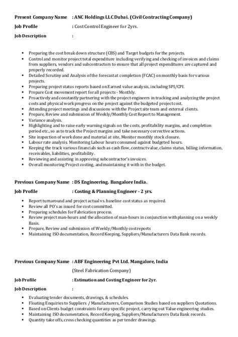 Cost Engineer Sle Resume by Resume Cost Engineer Deepraj Udupa