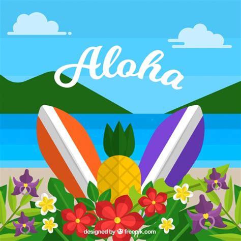 flat design wallpaper vector flat design aloha beach background vector free download