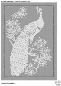 Filet Crochet Patterns For Home Decor by Peacock Tablecloth Bedspread Filet Crochet Pattern 352