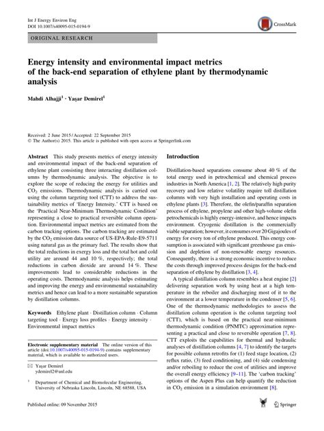 (PDF) Energy intensity and environmental impact metrics of