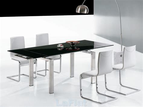 Black And White Dining Tables Favored Black And White Dining Room Decors With Square Modern Dining Table And White Chairs Also