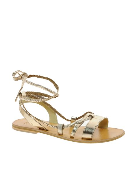 gold shoes flat asos asos forever leather flat sandals in gold lyst