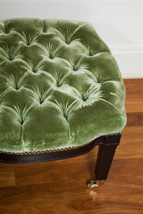 green tufted ottoman green tufted ottoman on casters for sale at 1stdibs