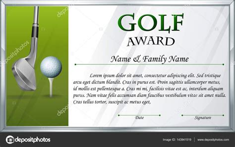Certificate Template For Golf Award Stock Vector 169 Interactimages 143941519 Golf Gift Certificate Template