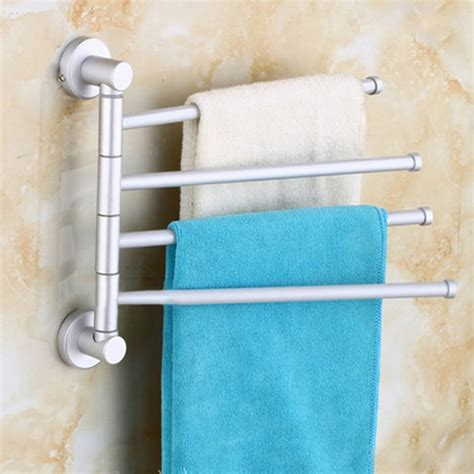 wall mounted aluminum bath towel holder swivel bathroom