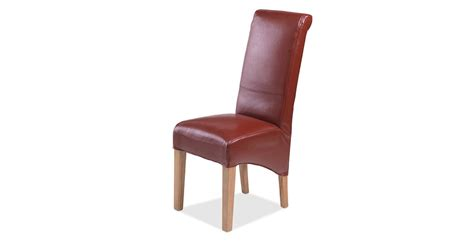 Oak Leather Dining Chairs Cuba Oak Bonded Leather Dining Chairs Pair Lifestyle Furniture Uk