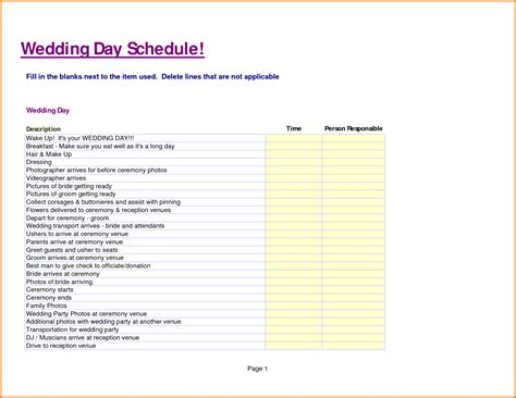 wedding day schedule template non profit treasurer report template related keywords