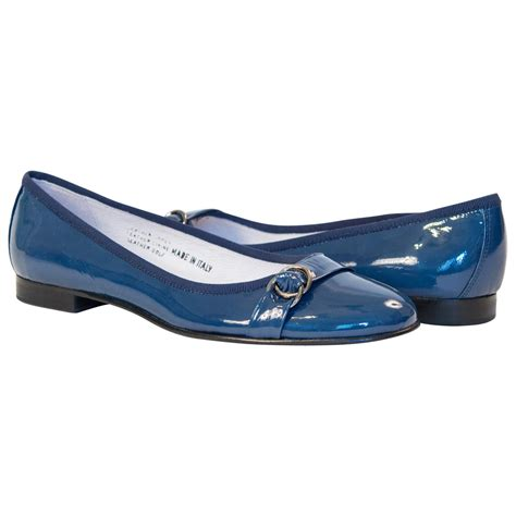 flat blue shoes becky patent blue leather ballerina flat paolo shoes