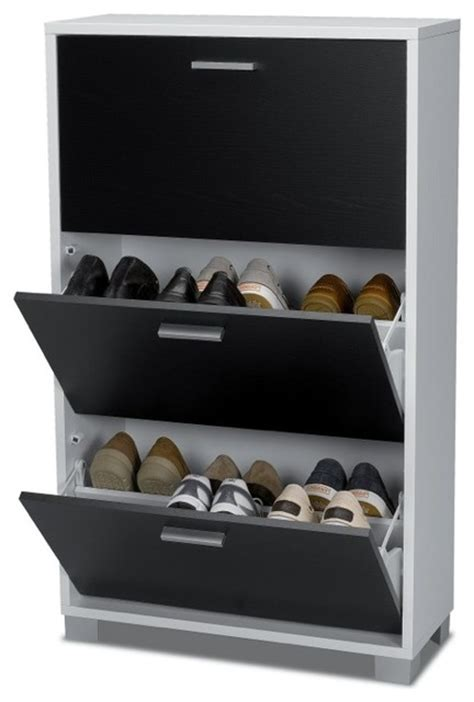 fold out shoe storage black and white shoe rack with 3 folding doors