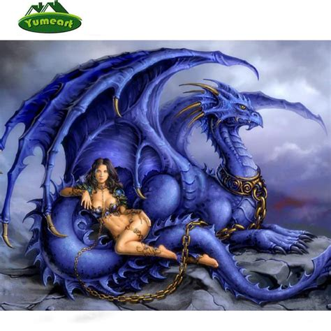 fantasy woman and purple dragon diy diamond picture square