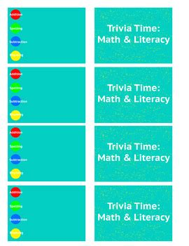 trivia card template math literacy trivia card template by pre service