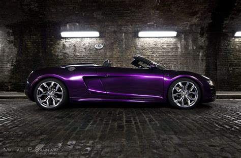 purple glitter car audi r8 v10 spyder wrapped in midnight purple audi r8
