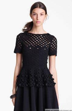 Inspiration Crochet Blouse Black From Crochetemoda I Adore This | katia ribeiro acess 243 rios blusa em croch 234 com gr 225 ficos