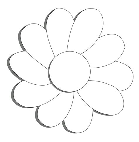 Flower Outline Black And White by Black And White Flower Outline Cliparts Co