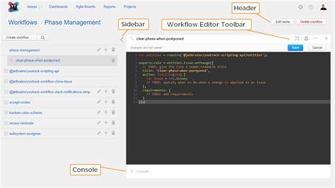 javascript workflow editor web based workflow editor help youtrack incloud