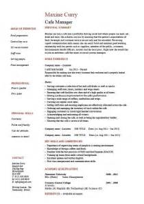 cafe manager cv 1 resume covering letter job description
