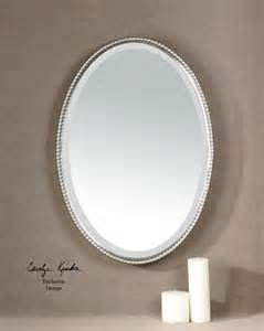oval bathroom mirrors brushed nickel uttermost sherise brushed nickel oval mirror 01102 b
