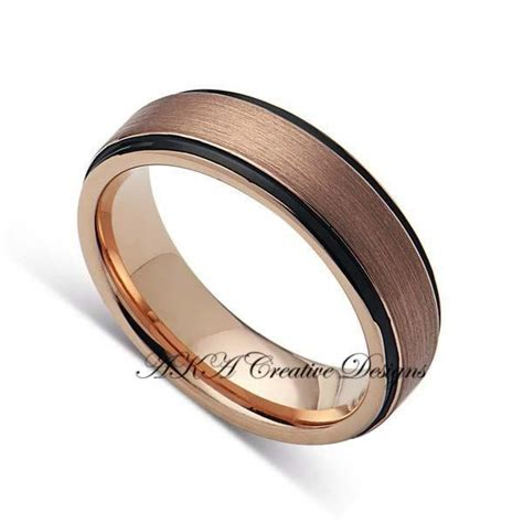 Mens TungstenBand, 6mm,Two Tone Black With Rose Gold, Mens