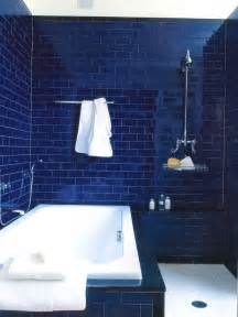 Masculine styled bathroom tiled in a deep dark blue tile with a black